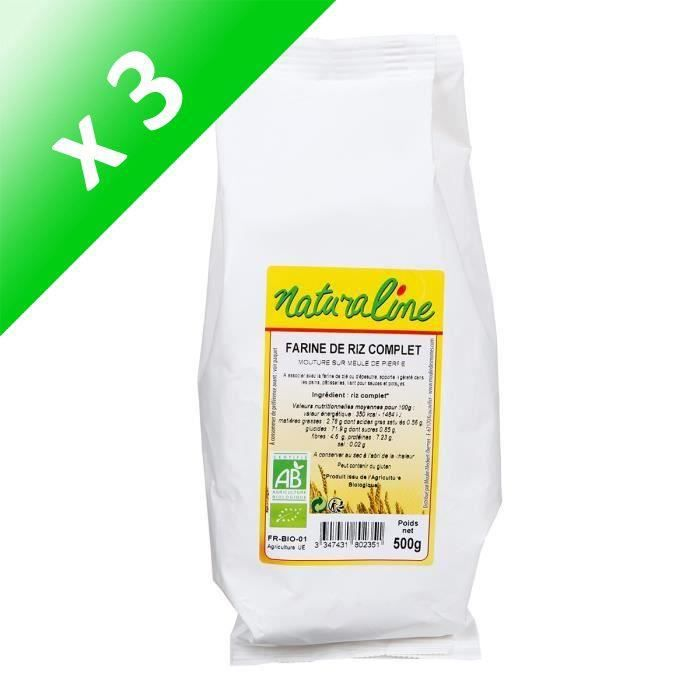 [LOT DE 3] MOULIN DES MOINES Farine de riz complet bio - 500 g
