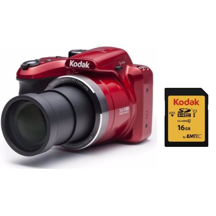 KODAK AZ365 Appareil Photo Bridge - Zoom x36 + KODAK Carte 16 Go