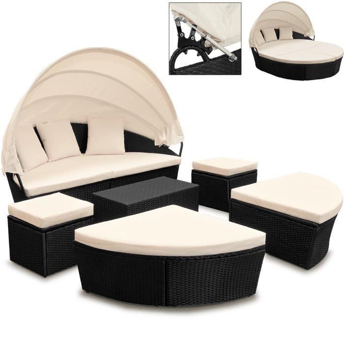Deuba - Canapé • ensemble ovale en polyrotin noir avec coussins • 226 cm avec pare-soleil - Bain de soleil, salon de jardin, lounge