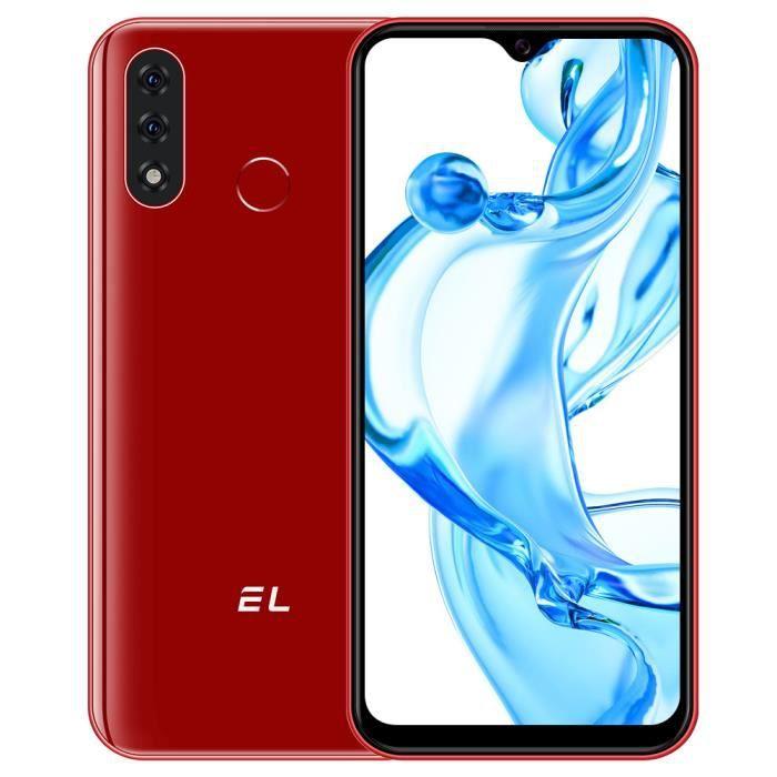 Téléphone portable EL-D60 Pro 4G Android 10.0 HD 6.1- Écran Goutte d'eau 32Go ROM 4080mAh débloqué moins cher Rouge