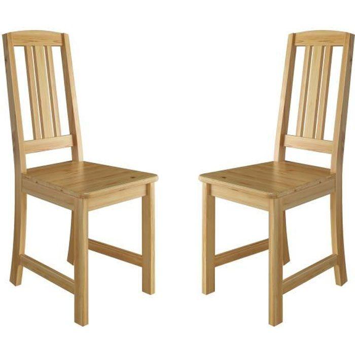 90.71-22-D 2 Chaises de cuisine avec barres longitudinales dans le dossier, chaise de salle à manger, chaise en pin massif naturel