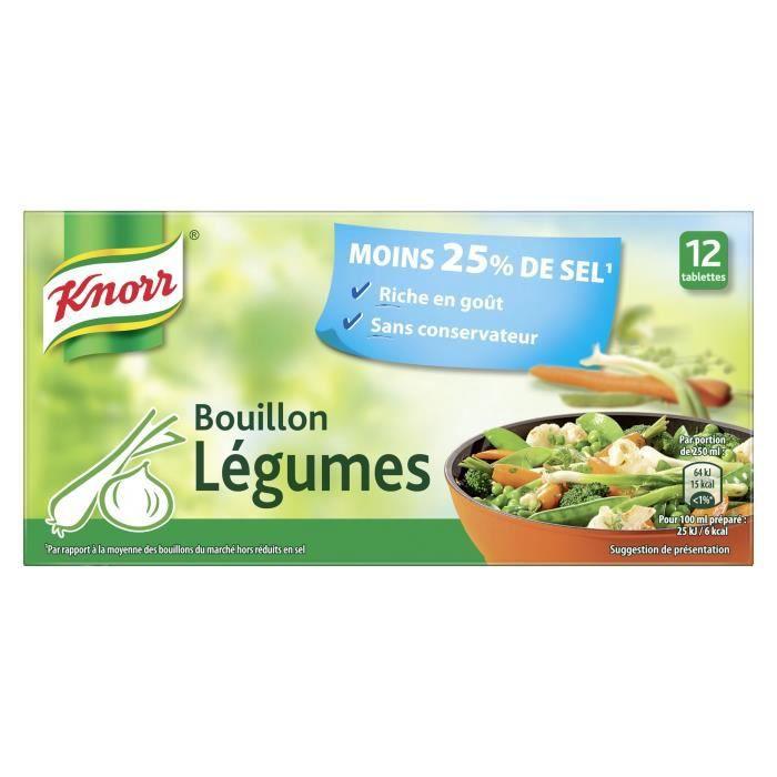 KNORR Bouillon Cube Légumes Réduit en Sel 12 cubes - 109 g