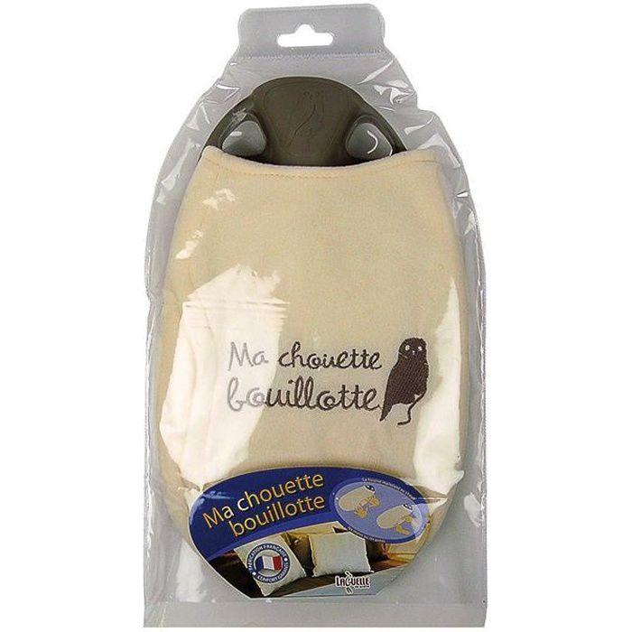 Bouillotte chouette + housse polaire - écru