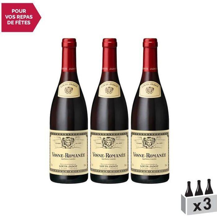 Vosne-Romanée Rouge 2016 - Lot de 3x75cl - Louis Jadot - Vin AOC Rouge de Bourgogne - Cépage Pinot Noir