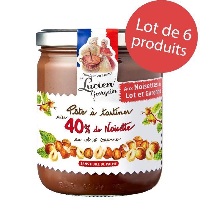 LOT 6 x Pâte à tartiner aux 40% de noisettes du Lot-et-Garonne et cacao - 400g