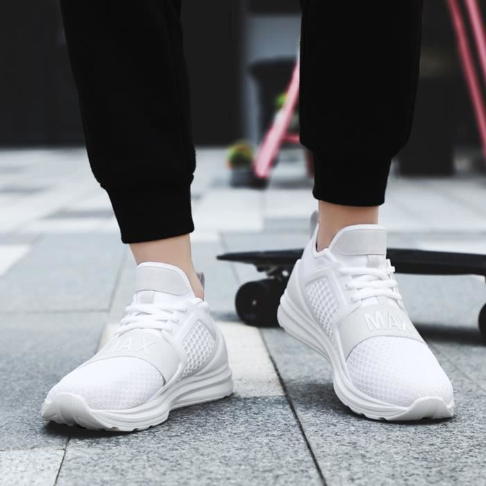 Casual Lace-Up plat Hommes Sport Chaussures Running Wear Résistant Solide Couleur Sneaker blanc