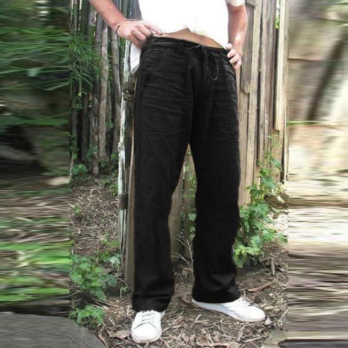 Pantalon Homme Imprimé Coupe Droite Jogging de Running -Taille Asiatique Noir