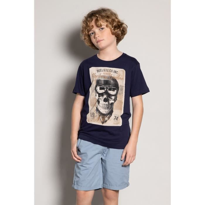 DEELUXE T-shirt photo tête de mort CLEM Navy