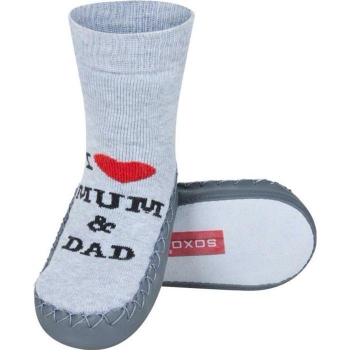 Chaussons chaussettes bébé avec semelle en cuir - I love Mum & Dad