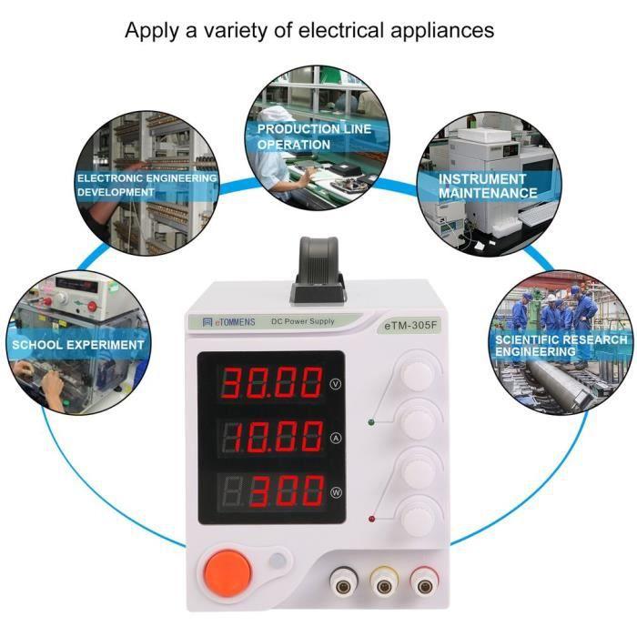 Etm 305F Alimentation Dc 30V 5A Haute Précision Centres de réparation de tests Laboratoire Eu plug