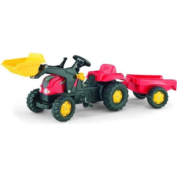 ROLLY TOYS Tracteur à pédales enfant et remorque Rolly Kid X rouge