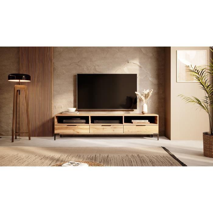 Meuble tv - RIKKE - 160 cm - chêne wotan - sans LED