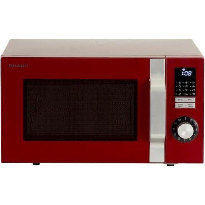 Sharp R744RD, Comptoir, Micro-onde combiné, 25 L, 1000 W, boutons, Rotatif, Rouge