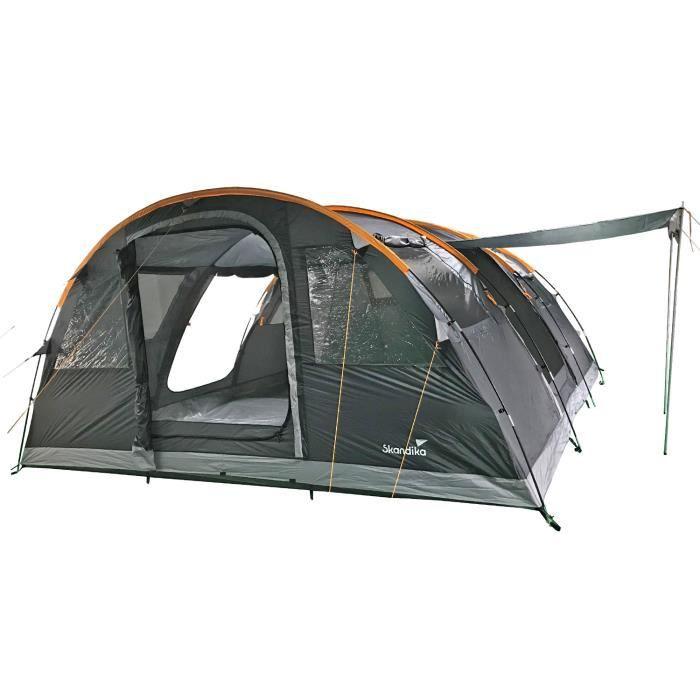 Skandika Gotland 6 - Tente camping familiale tunnel - 6 Personnes - 540 x 450 cm - Gris/Orange