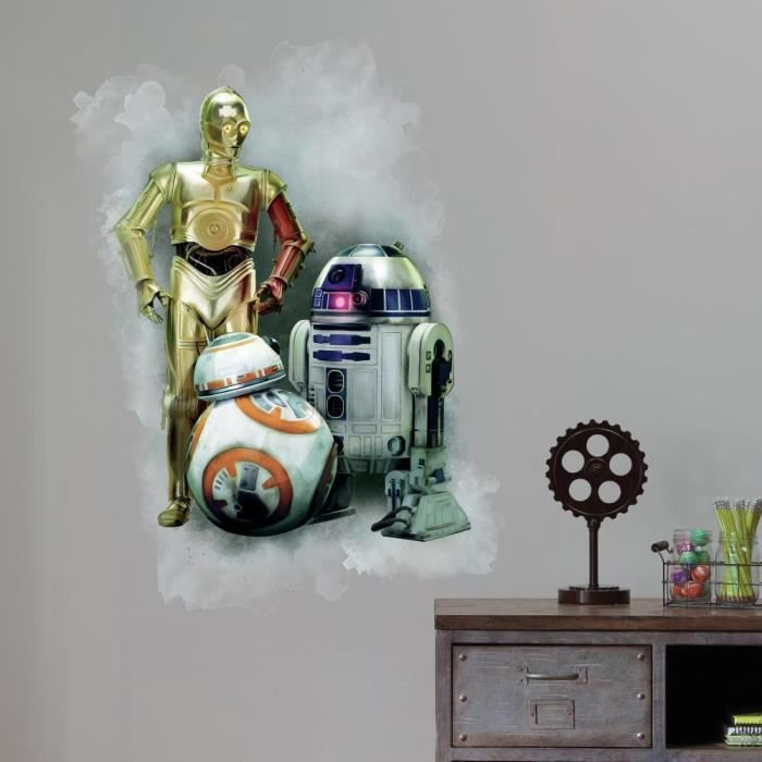 Stickers STAR WARS VII R2D2, CP30, BB-8 GRAPHIC Géant Roommates Repositionnables