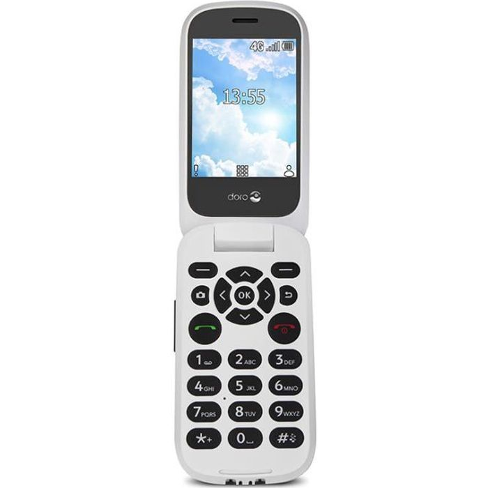 TIM Doro 7060, Clapet, 7,11 cm (2.8-), 3 MP, Bluetooth, 1350 mAh, Noir, Blanc