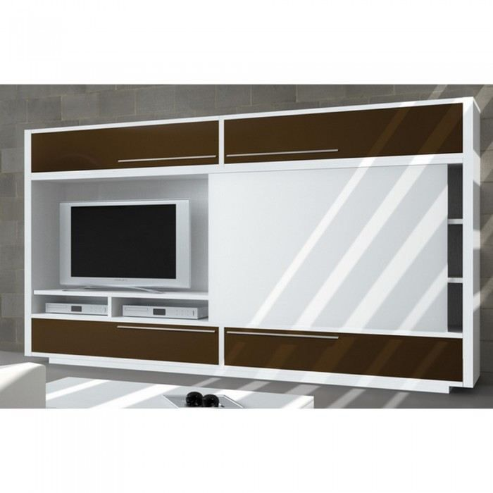 meuble tv biblioth que domino avec porte coulis achat vente meuble tv meuble tv. Black Bedroom Furniture Sets. Home Design Ideas