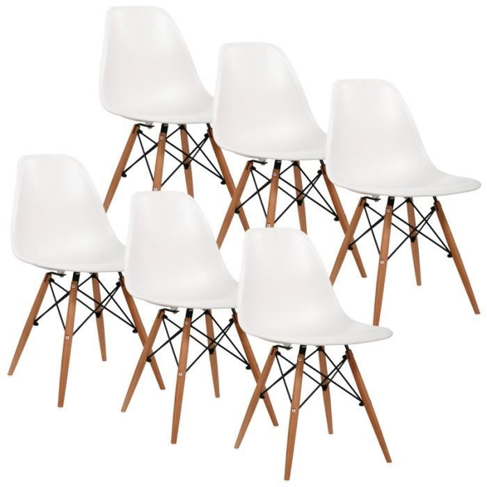 Lot de 6 chaises design blanche nina achat vente for Chaise design blanche