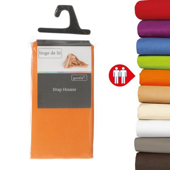 drap housse 140x190 orange Drap housse 140x190 cm orange 100% coton 57 fils   Achat / Vente  drap housse 140x190 orange