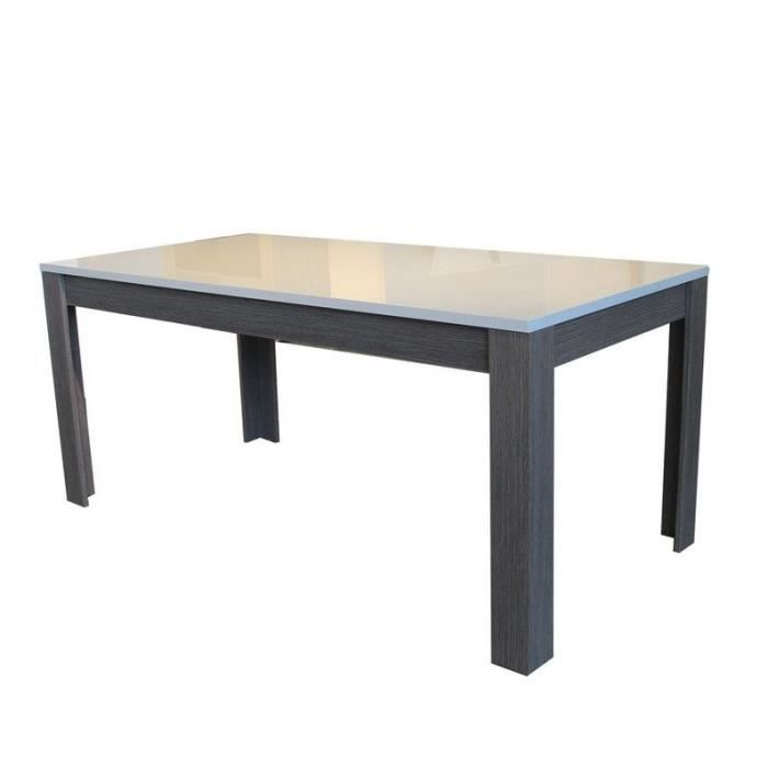 table manger laqu e blanc et ch ne gris achat vente table a manger seule table manger. Black Bedroom Furniture Sets. Home Design Ideas