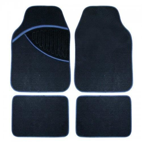 4 tapis sol moquette pour voiture auto bleu noir achat. Black Bedroom Furniture Sets. Home Design Ideas