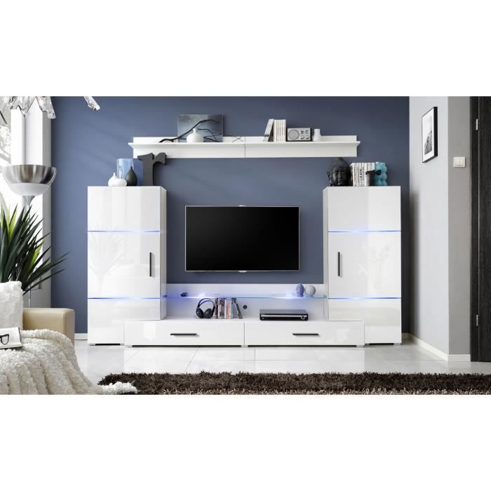 meuble de salon tv twin design blanc laqu led achat vente salon complet soldes cdiscount. Black Bedroom Furniture Sets. Home Design Ideas