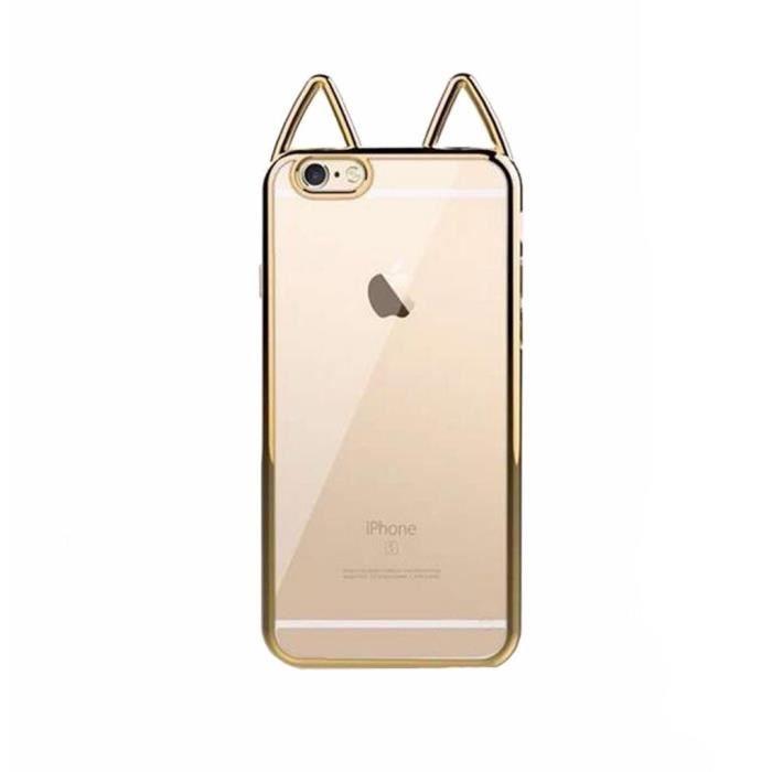 iphone 7 plus coque silicone transparente gold cat