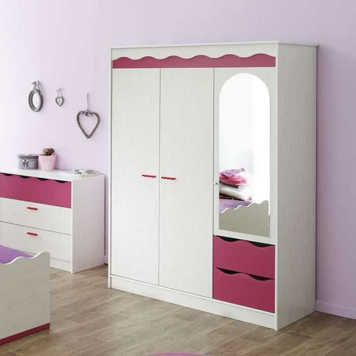 armoire rose et blanche pour chambre fille lilou achat. Black Bedroom Furniture Sets. Home Design Ideas