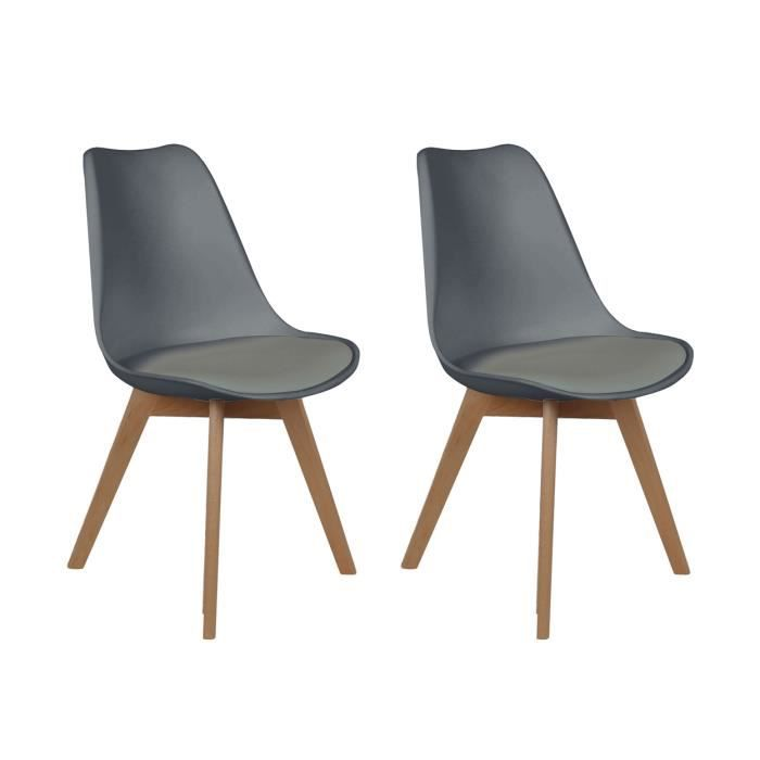 lot de 2 chaises scandinaves grises achat vente chaise gris cdiscount. Black Bedroom Furniture Sets. Home Design Ideas