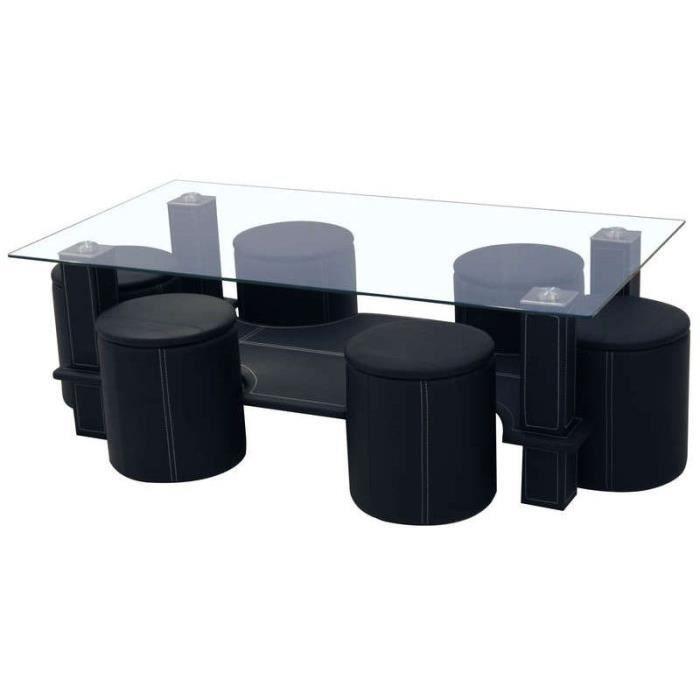 Table Basse Avec 6 Poufs En Pvc Coloris Noir Achat Vente Table Basse Table Basse Avec 6 Poufs En Cdiscount
