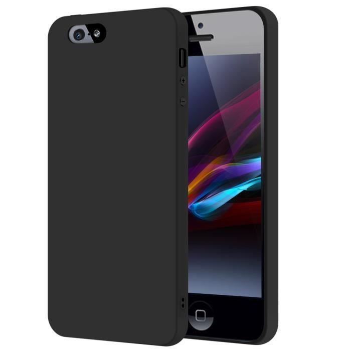 sdtek coque pour iphone se 5 5s noir silicon