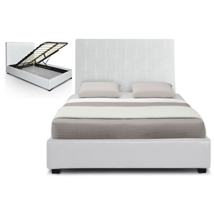 lit coffre cuir 140 cm blanc hypnos achat vente structure de lit cdiscount. Black Bedroom Furniture Sets. Home Design Ideas