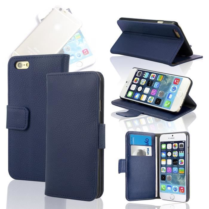 Housse coque portefeuille cuir iphone 6 4 7 bleu achat for Housse iphone 4 cuir