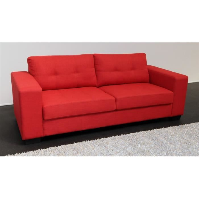 Canap 3 places switsofa dana tissu rouge achat vente for Canape 3 places rouge