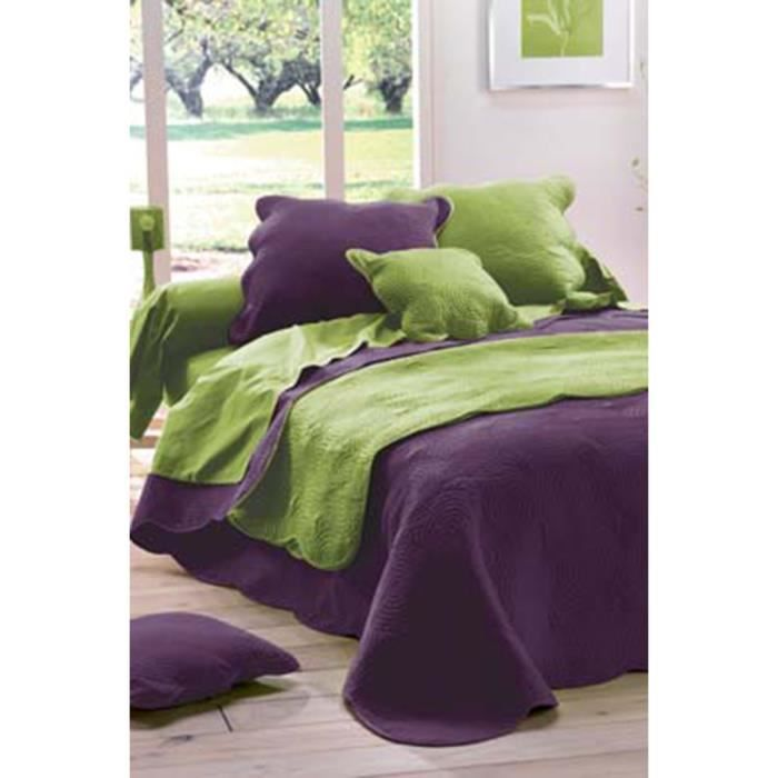 couvre lit matelass prune violet achat vente jet e de lit boutis cdiscount. Black Bedroom Furniture Sets. Home Design Ideas