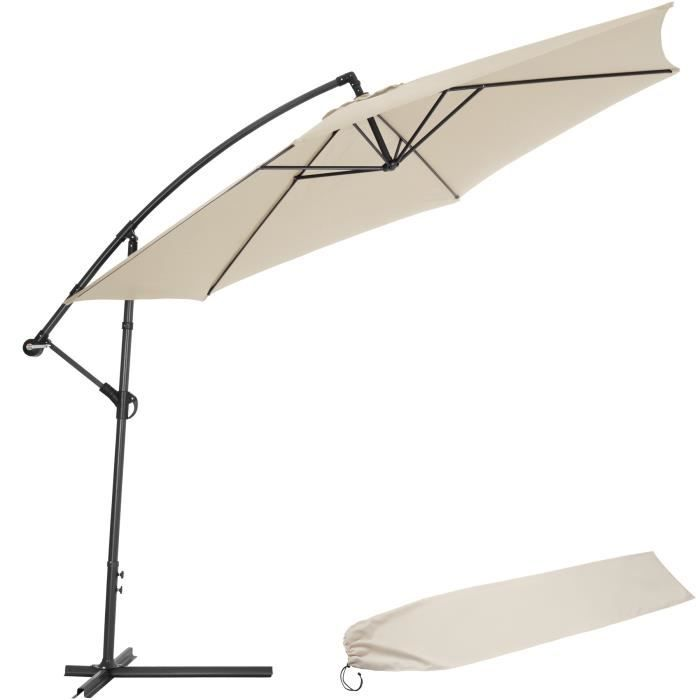 parasol d port beige en aluminium housse achat vente parasol parasol d port beige en al. Black Bedroom Furniture Sets. Home Design Ideas