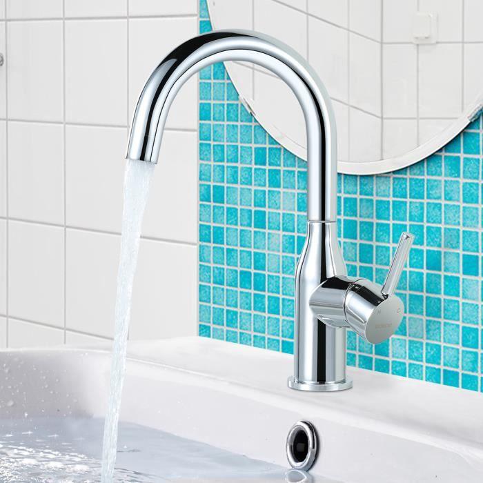WC Robinets de lavabo Design Moderne de Robinet Lavabo Cascade Avec Chaude et Froide R/églable de Mitigeur Lavabo Nickel Bross/é Robinet Salle de Bain