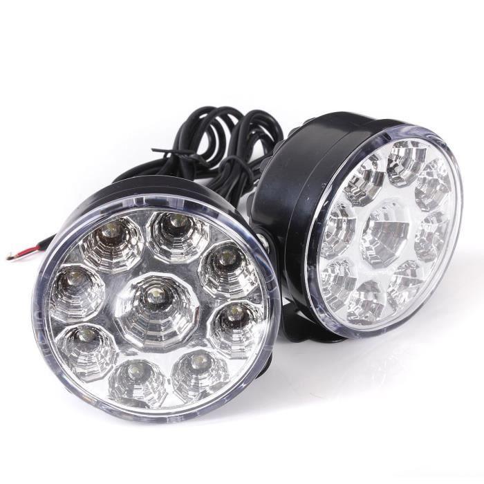 Lot de 2 feux de circulation diurnes COB 12 V CC 90 mm Forme ronde Feux de circulation diurnes LED Blanc
