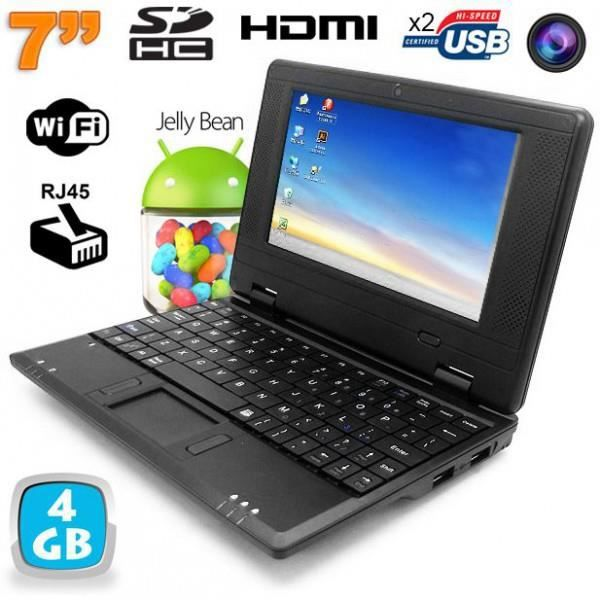 mini pc android netbook 7 pouces wifi 4 go noir prix pas cher cdiscount. Black Bedroom Furniture Sets. Home Design Ideas