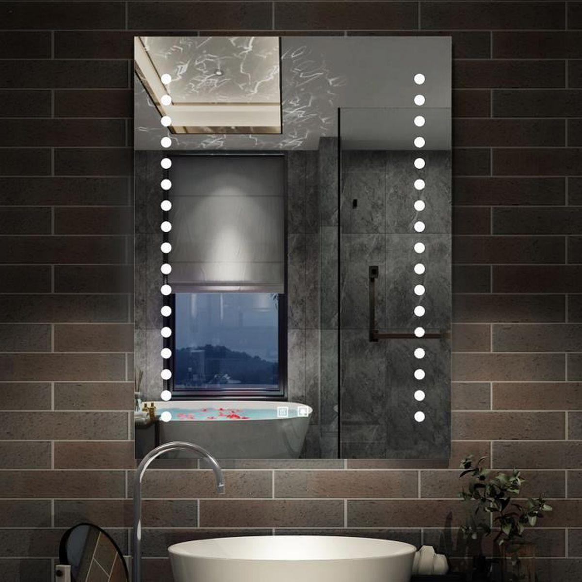Miroir LED miroir de salle de bain Miroir lumineux 17x17cm anti
