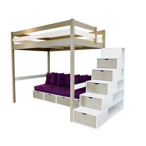 Mezzanine Sylvia 140 200 Avec Escalier Cube Banquette Cube