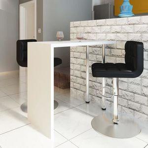 TABLE À MANGER SEULE Table de bar MDF avec 2 pieds en acier Haut brilla