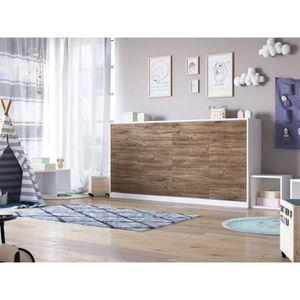 LIT ESCAMOTABLE SMARTBett Basic 90x200 horizontal blanc/noyer avec