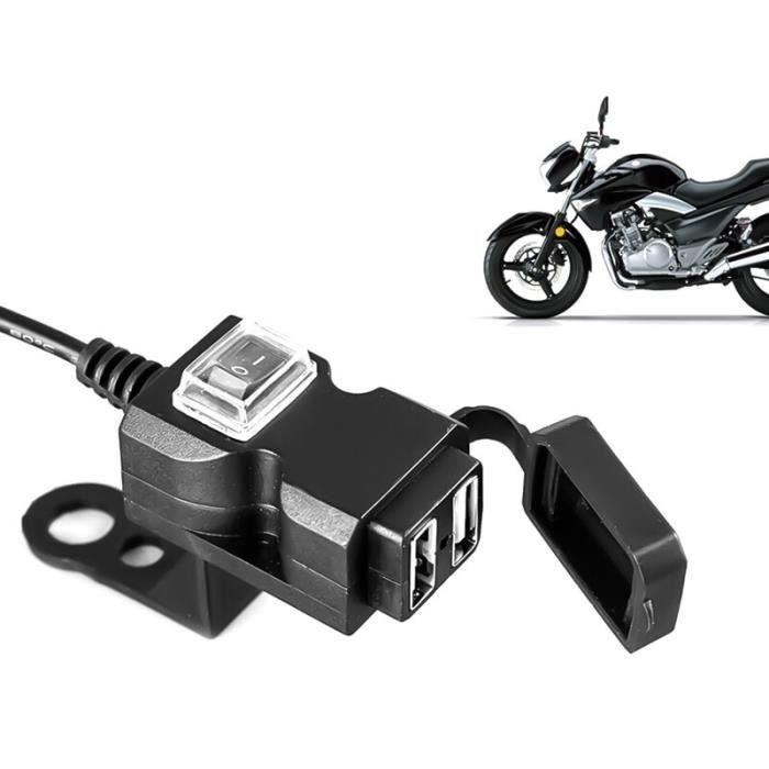 Chargeur de guidon de moto étanche 12V, double Port USB, adaptateur 5V, prise d'alimentation pour téléphone portable [2BA5C61]