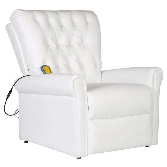 Fauteuil de massage Fauteuil relax massant électrique Cuir artificiel Réglable Blanc