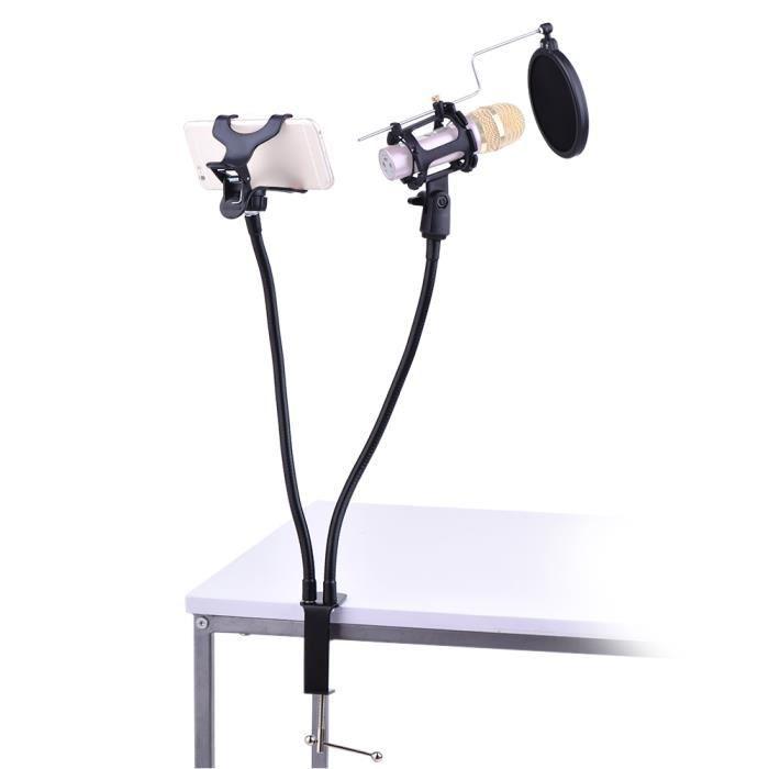 Téléphone professionnel Support de microphone Support de support Support de support Kit Réglage d'angle de 360 degrés pour MV St