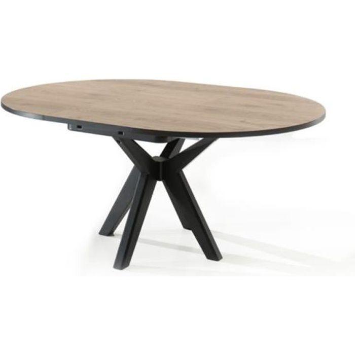 Table ronde avec rallonge 130 cm couleur chêne naturel ESTELLE Marron L 130 x P 130,1 x H 78 cm