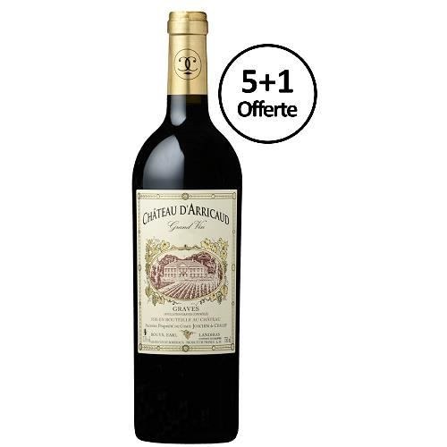 Grand Vin 2012 du Château d'Arricaud - lot de 6 bouteilles de 75cl - 5+1 offerte - Graves rouge - Bordeaux