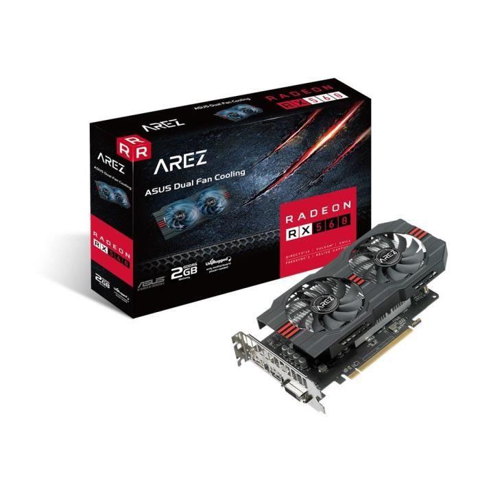 ASUS AREZ-RX560-2G-EVO Radeon RX 560 2 Go GDDR5 - Cartes Graphiques (Radeon RX 560, 2 Go, GDDR5, 128 bit, 5120 x 2880 Pixels, PCI