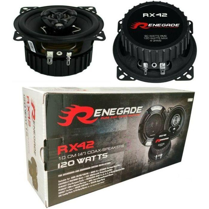 2 haut-parleurs coaxiaux 2 voies RENEGADE RX42 4- 10,00 cm 100 mm 60 watt rms 120 watt max impedance 4 ohms 92 db voiture, la paire